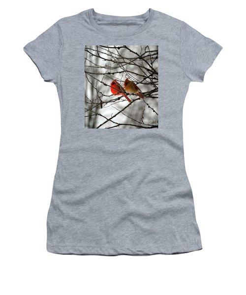 Women's T-Shirt (Junior Cut) featuring the photograph True Love Cardinal by Peggy Franz
