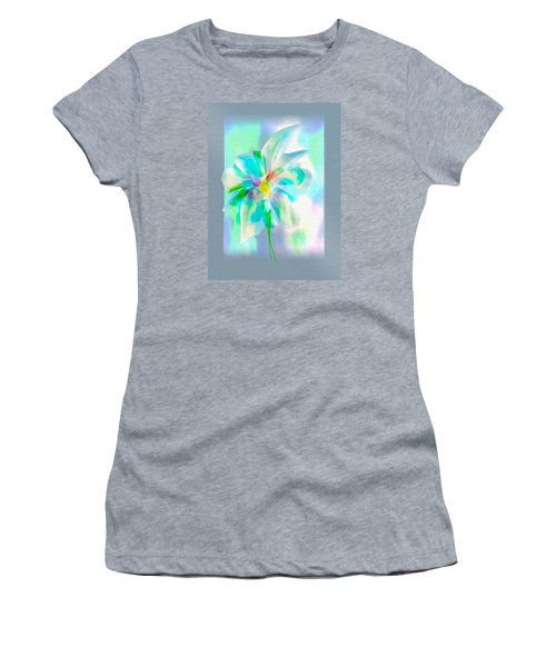 Women's T-Shirt (Junior Cut) featuring the digital art Turquoise Bloom by Frank Bright
