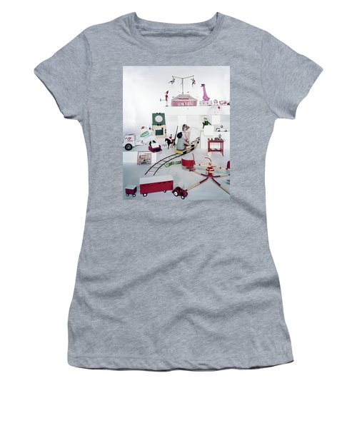 Two Children Playing With Vintage Toys Women's T-Shirt