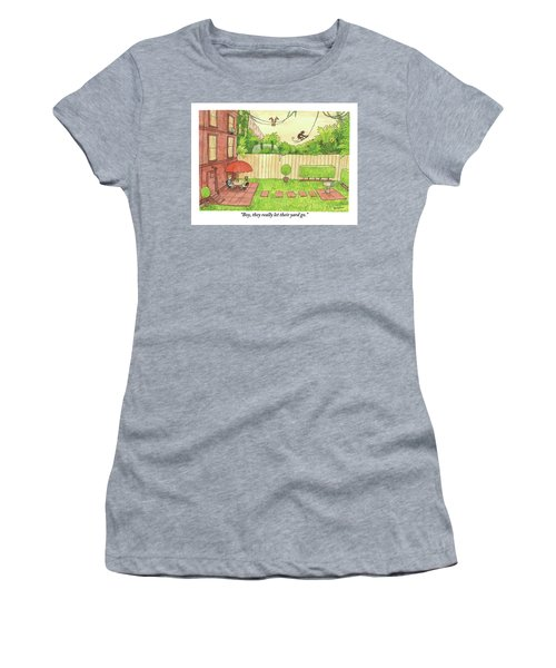 Two People Sitting On Their Back Patio Women's T-Shirt