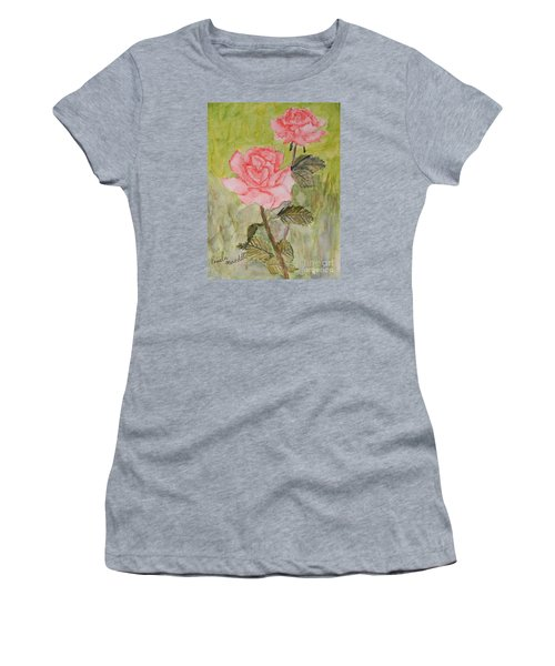 Two Pink Roses Women's T-Shirt (Junior Cut) by Pamela  Meredith