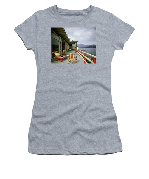 Two Women On The Deck Of A House On A Lake Women's T-Shirt