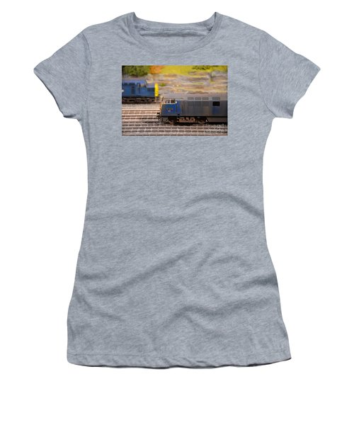 Women's T-Shirt (Junior Cut) featuring the photograph Two Yellow Blue British Rail Model Railway Train Engines by Imran Ahmed