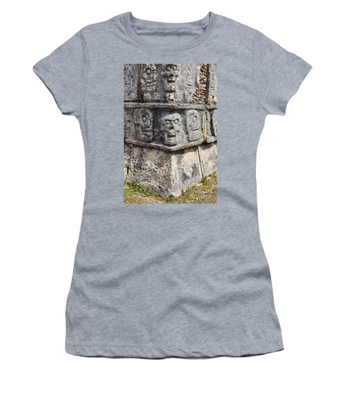 Women's T-Shirt featuring the photograph Tzompantli Or Platform Of The Skulls At Chichen Itza by Bryan Mullennix