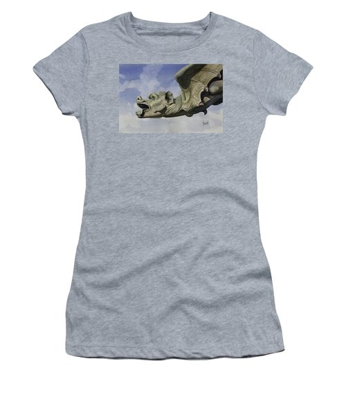 Women's T-Shirt featuring the painting Ulmer Munster Gargoyle by Sam Sidders