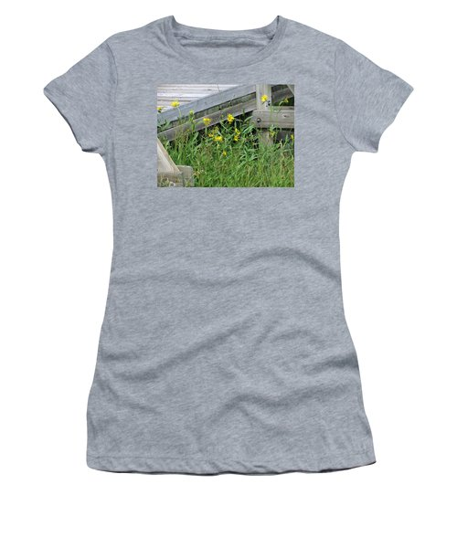 Women's T-Shirt (Junior Cut) featuring the photograph Under The Boardwalk by Laurel Powell