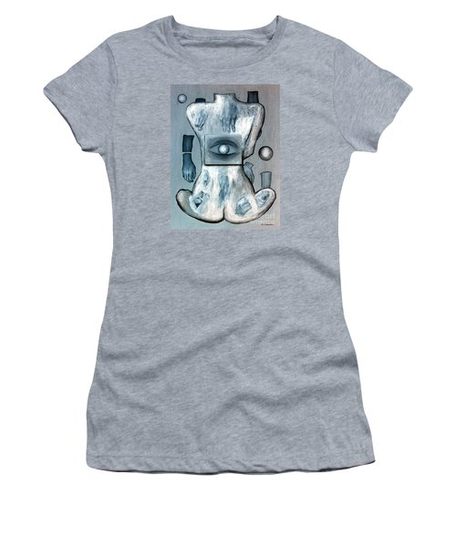 Women's T-Shirt (Junior Cut) featuring the painting Listen Via Your Eyes by Fei A