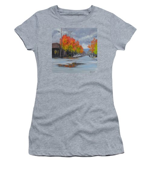 Women's T-Shirt (Junior Cut) featuring the painting Urban Autumn by Karen Ilari