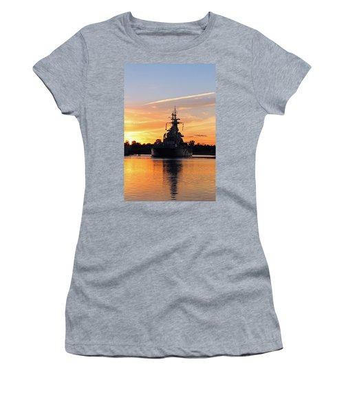 Women's T-Shirt (Junior Cut) featuring the photograph Uss Battleship by Cynthia Guinn