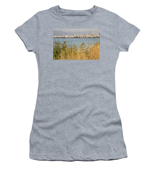 Women's T-Shirt (Junior Cut) featuring the photograph Vancouver Bc Downtown From Hasting Mills Park by JPLDesigns