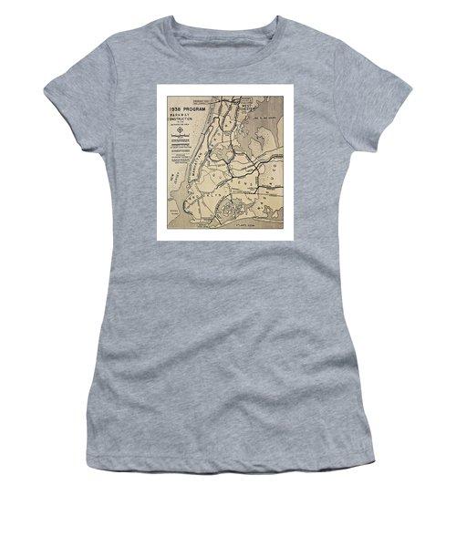 Vintage Newspaper Map Women's T-Shirt