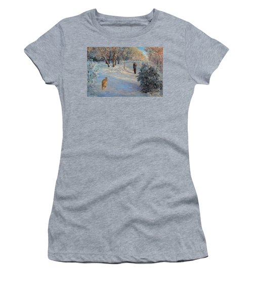 Walking In A Winter Park Women's T-Shirt (Athletic Fit)