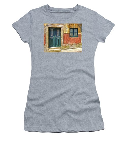 Women's T-Shirt (Junior Cut) featuring the painting Walking Through Vila De Conde by Michael Pickett