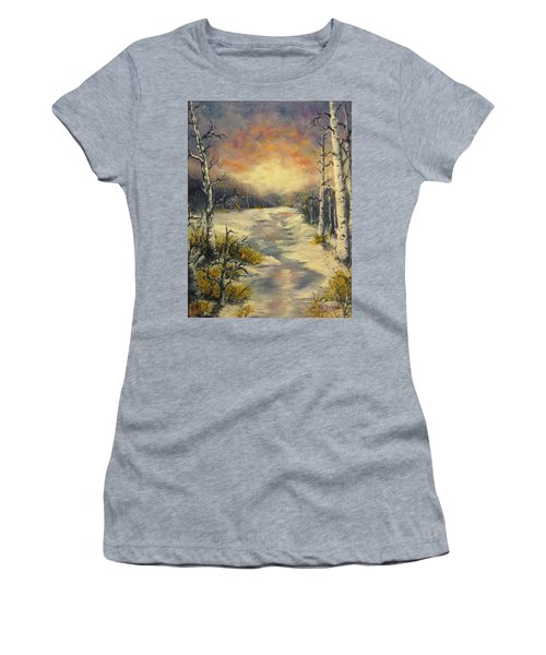Women's T-Shirt (Junior Cut) featuring the painting Water Music  by Megan Walsh