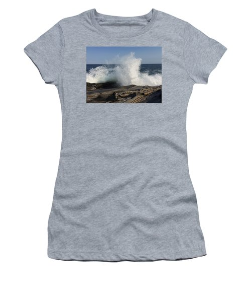 Waves Crashing On Rocky Maine Coast Women's T-Shirt