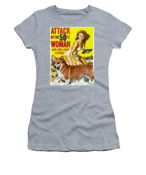 Welsh Corgi Pembroke Art Canvas Print - Attack Of The 50ft Woman Movie Poster Women's T-Shirt (Athletic Fit)