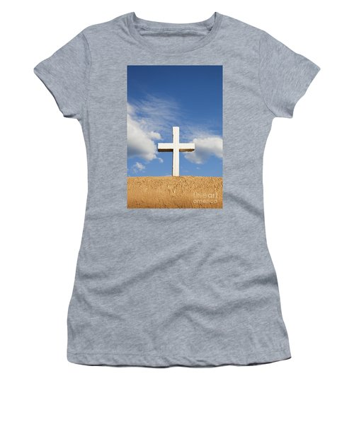 Women's T-Shirt featuring the photograph White Cross On Adobe Wall by Bryan Mullennix