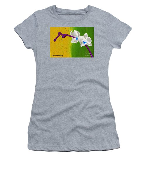 White Orchids On Yellow And Green Women's T-Shirt