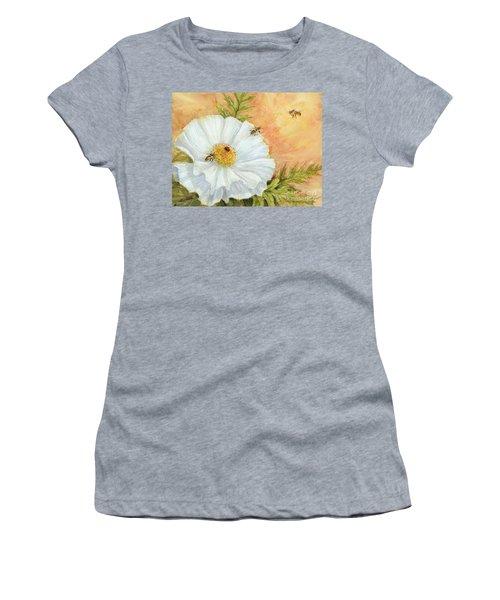 White Poppy And Bees Women's T-Shirt
