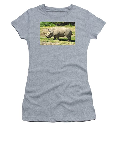 White Rhinoceros Grazing Women's T-Shirt (Athletic Fit)