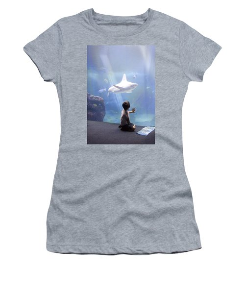 White Shark And Young Boy Women's T-Shirt (Athletic Fit)