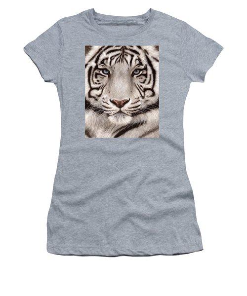 White Tiger Painting Women's T-Shirt (Junior Cut) by Rachel Stribbling
