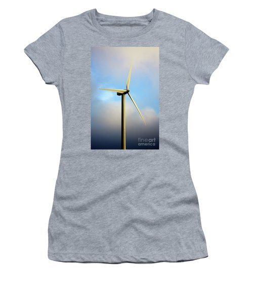 Windmill Dark Blue Sky Women's T-Shirt (Athletic Fit)