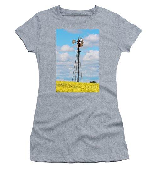 Windmill In Canola Field Women's T-Shirt
