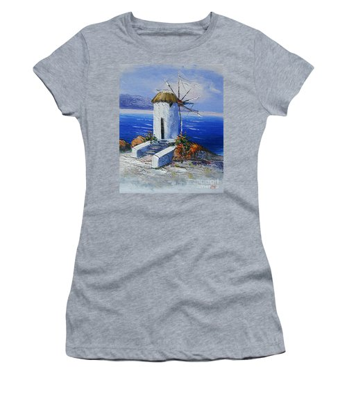 Windmill In Greece Women's T-Shirt (Athletic Fit)