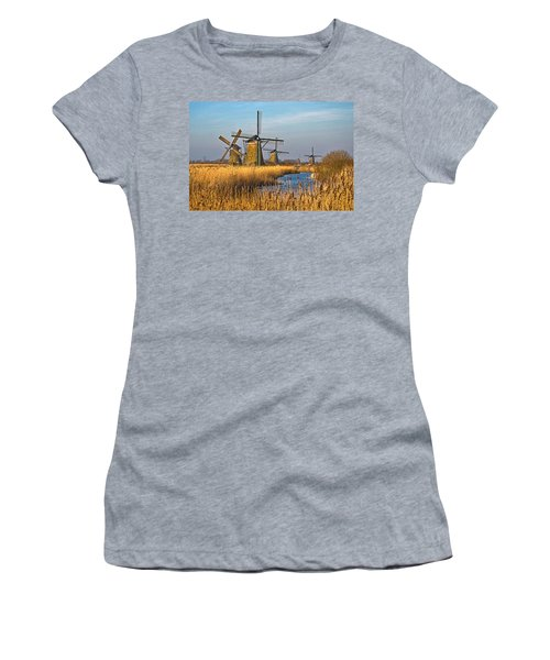 Windmills And Reeds Near Kinderdijk Women's T-Shirt (Athletic Fit)