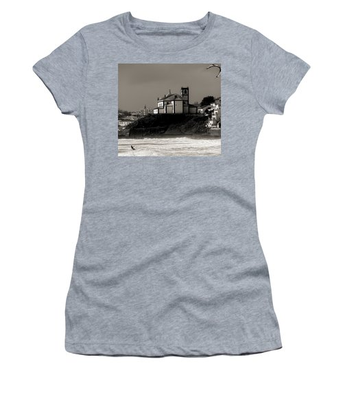 Windsurfer On Ocean In Back Of Church Women's T-Shirt (Athletic Fit)