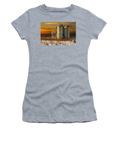 Winter On The Farm Women's T-Shirt (Junior Cut) by Judy  Johnson