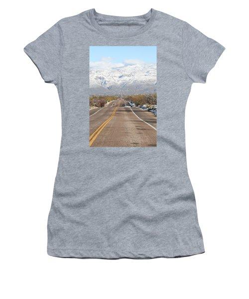 Winter Road Women's T-Shirt (Junior Cut) by David S Reynolds
