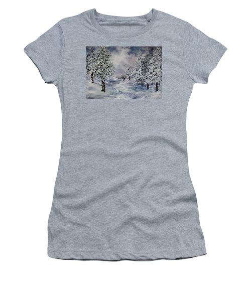 Women's T-Shirt (Junior Cut) featuring the painting Winter Walk On Cannock Chase by Jean Walker