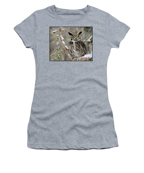 Wise Old Great Horned Owl Women's T-Shirt (Athletic Fit)
