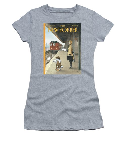 Woman On Train Platform Looking At Easter Bunny Women's T-Shirt