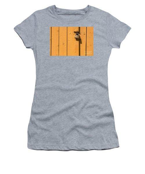 Wooden Plank Door Steel Lock Women's T-Shirt