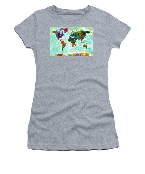 World Map Splatter Design Women's T-Shirt