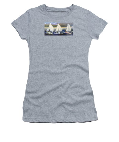 Yachts Sailing Off The Coast Women's T-Shirt (Athletic Fit)