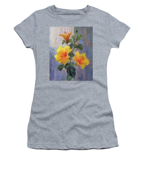 Yellow Hibiscus Flower Women's T-Shirt (Athletic Fit)