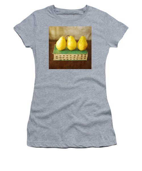 Yellow Pears And Vintage Green Book Still Life Women's T-Shirt (Athletic Fit)