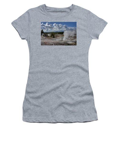 Women's T-Shirt (Junior Cut) featuring the photograph Yellowstone's Norris Geyser Basin by Bill Gabbert