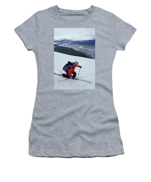 Young Woman Telemark Skiing On Brabazon Women's T-Shirt