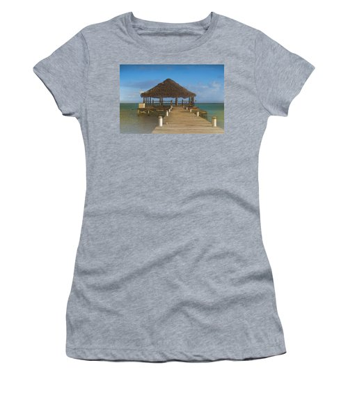 Beach Deck With Palapa Floating In The Water Women's T-Shirt
