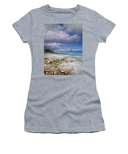 Women's T-Shirt (Junior Cut) featuring the photograph Fishing By The Lighthouse by Beverly Cash