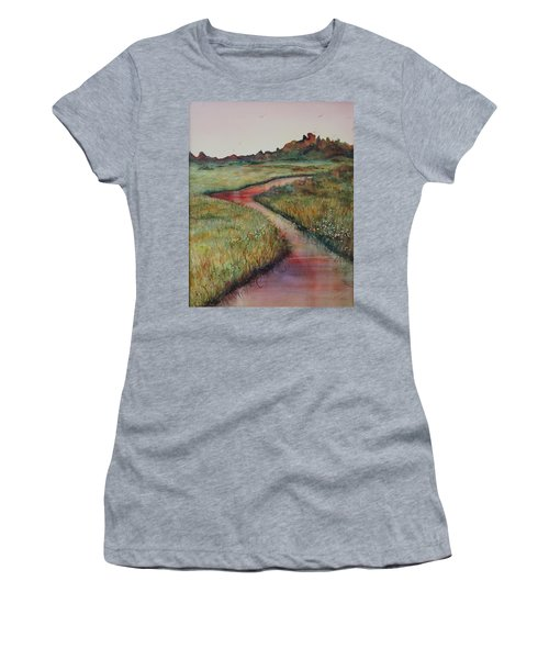 Women's T-Shirt featuring the painting Wetlands by Ruth Kamenev