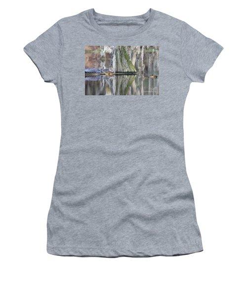 Women's T-Shirt (Junior Cut) featuring the photograph Alligator Waiting For Dinner by Dan Friend