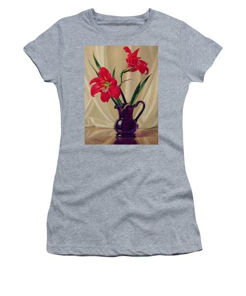 Amaryllis Lillies In A Dark Glass Jug Women's T-Shirt