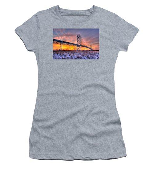 Ambassador Bridge Sunrise 1-16-2012  Detroit Mi Women's T-Shirt (Athletic Fit)