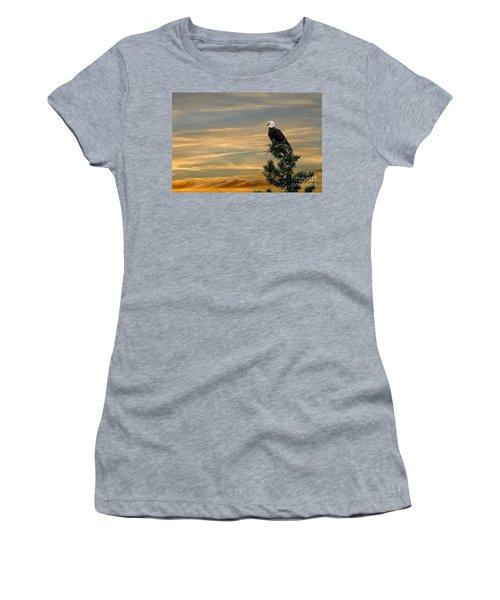 Women's T-Shirt (Junior Cut) featuring the photograph American Eagle Sunset by Dan Friend